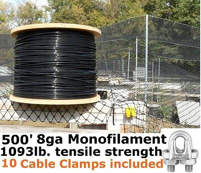 Monofilament Cable Wire Rope (500') 8GA Black Support Cable & 10pk Cable Clamps