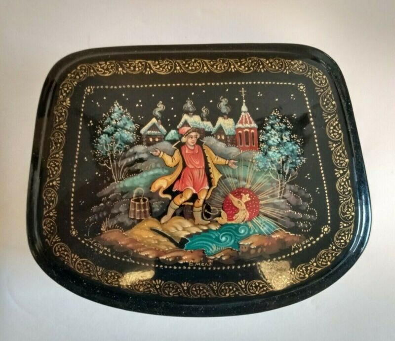 Vintage Russian Lacquer Fairytale Box The Golden Fish 4 inch by 3 inch Signed