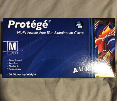 Aurelia Protege Medium Blue Nitrile Powder Free Latex Free Surgical Gloves 100ct