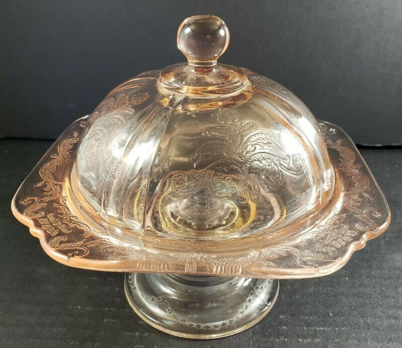 Indiana Glass Recollection Pink Federal Glass Pedestal Covered Butter Dish