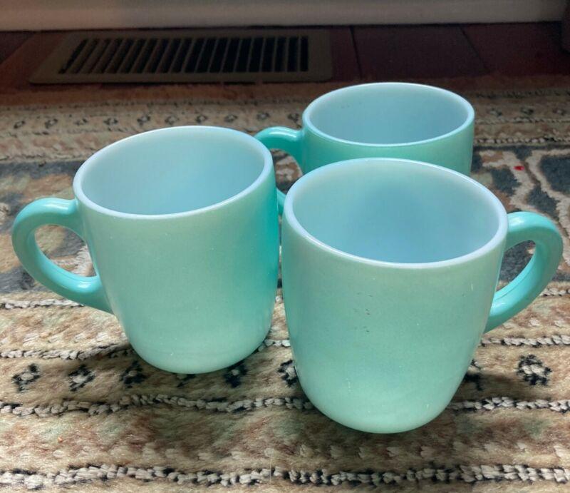 Set of VINTAGE HAZEL ATLAS COFFEE CUP MUGS C HANDLE TURQUOISE TEAL AQUA