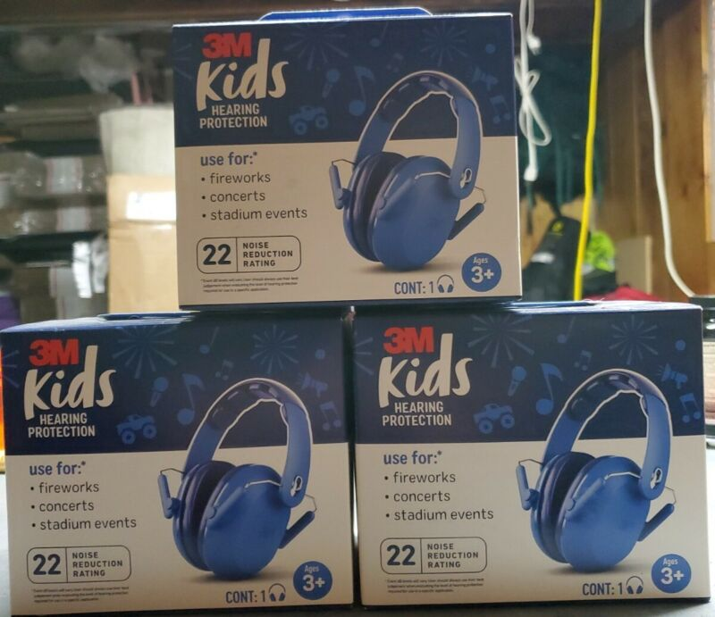 Lot of 3 NEW 3M Kids Hearing Protection ANSI  Headphones Quiet Adjust Compact