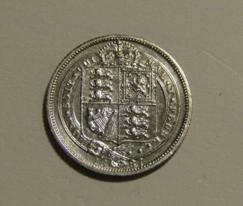 Great Britain 1887 6 Pence Silver Au Coin