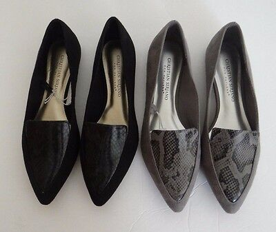 Christian Siriano For Payless Womens Pointy Toe Slip On Flats Shoes Black Gray