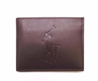 NEW MEN'S POLO RALPH LAUREN BIG PONY BROWN LEATHER ID PASSCASE BILLFOLD WALLET