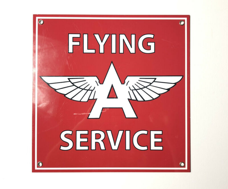 FLYING A SERVICE RED WHITE A WINGS HEAVY DUTY USA MADE METAL ADVERTISING SIGN