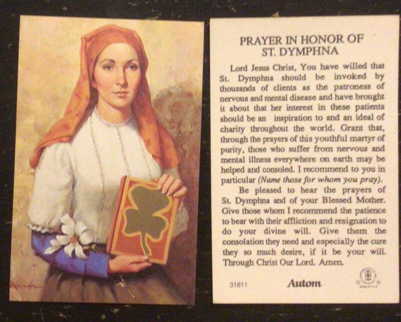St. Dymphna Prayer Card Patron Saint of Nervous & Mental Disease  FREE SHIPPING!