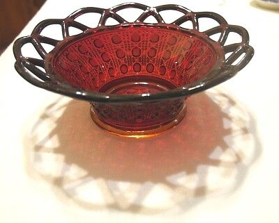 RUBY RED IMPERIAL GLASS LACED EDGE SUGAR CANE BOWL 6 in. DIAMETER