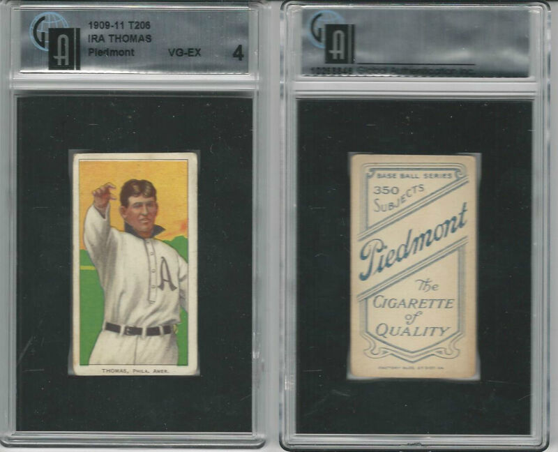 T206 ATC Baseball, 1909-11, Ira Thomas, Philadelphia, GAI 4 VGEX