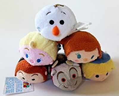 "Lot of 6 Disney Authentic tsum tsum mini 3 1/2"" Frozen plush Set X Target"