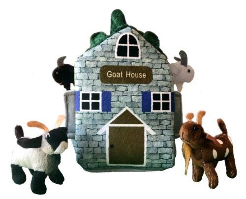 "ADORE 12"" Goat Farm House Stuffed Animal Plush Playset"