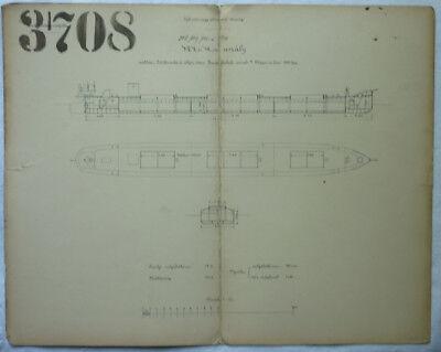 SCHIFFSBAUPLAN MAYER LINZ 1890 ca. 43 x 34 cm RARITÄT