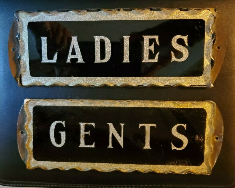 ANTIQUE 1890s ADVERTISING SIGN GENTS LADIES SCALLOPED GLASS AND BRASS GAS OIL