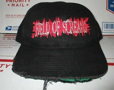 Field Of Screams Halloween Ultimate Atmos FEAR ! Hat vtg Haunted House corn Cap  - Haunted Field Of Screams