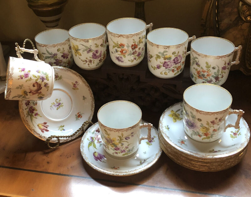 Antique European Hand Painted Tea Set For 8 Persons, Circa 1900