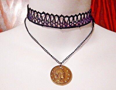 GYPSY COIN LACE CHOKER bronze Roman medallion multi-strand necklace bohemian (Multi Strand Coin)
