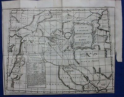 Original antique map MOUNT ARARAT, BABEL, PERSIA, IRAQ, MIDDLE EAST, Bowen, 1747