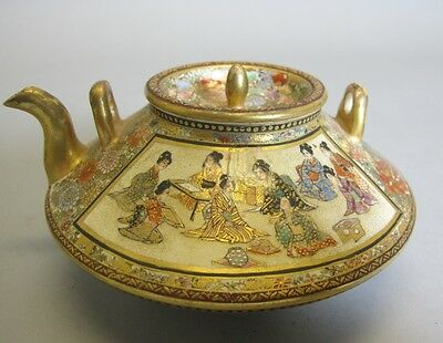 Fine Artist Signed Satsuma Teapot w/ Children  C. 1890  Meiji-era Japanese