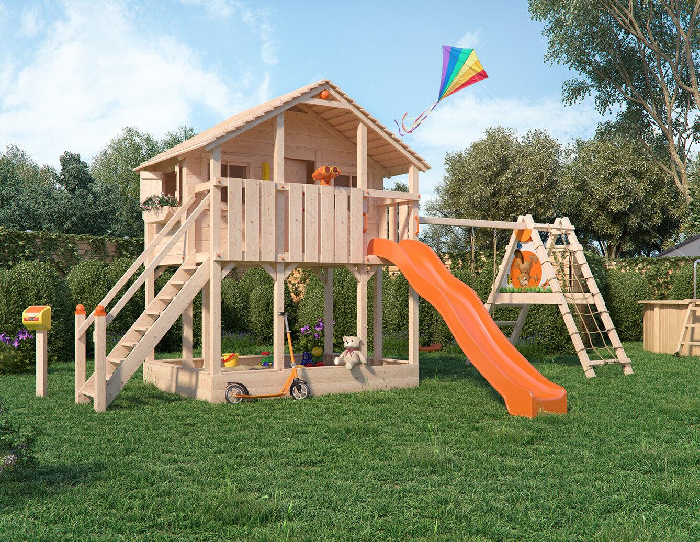 Klettergerüst Isidor : Spielturm goufy von isidor mit erweitertem schaukelanbau