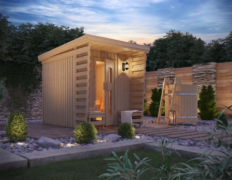 gartensauna fortuna von isidor outdoor sauna 4 1 m massivholz pultdach veranda ebay. Black Bedroom Furniture Sets. Home Design Ideas