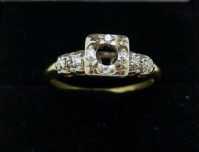 Vintage 14K Two Tone Gold  Art Deco Mounting Setting Ring 5D diamond accent 14k Two Tone Setting