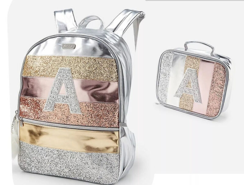 NWT Justice Girls Glitter Stripe Initial K Full Size Backpack & Lunch Tote Bag