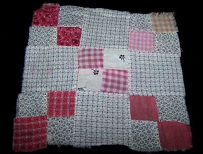 ORIGINAL ANTIQUE QUILT BLOCK-SHIRTING HOMESPUN FABRIC-HAND STITCHED-ART-CRAFT#F