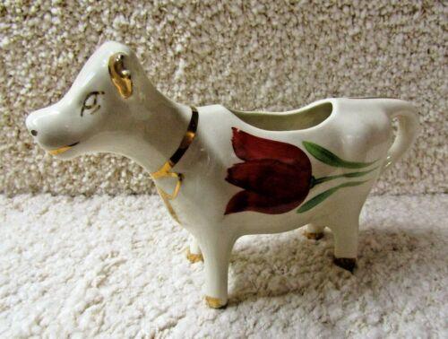 VINTAGE COW CREAMER PLANTER figure, floral deco, possible LePere pottery