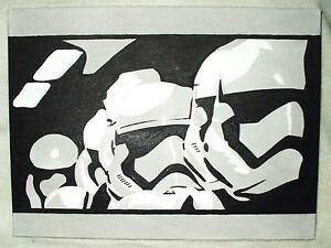 peinture sur toile star wars episode 7 remorque stormtroopers noir et blanc art 16x12 pouces ebay. Black Bedroom Furniture Sets. Home Design Ideas