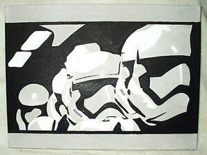 itm Peinture sur toile Star Wars Episode  remorque stormtroopers noir et blanc Art x pouces