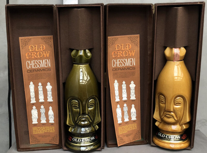 Lot Of 2 CHESS PIECES 1969 OLD CROW BOURBON DARK & LIGHT PAWN CHESSMEN DECANTER