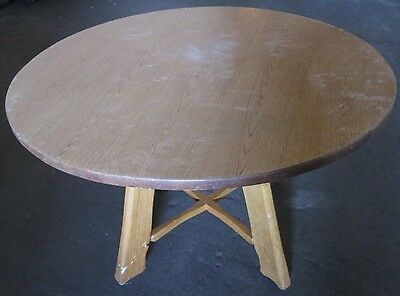 Fabulous 4 Round Table Tables 48 Oak Bases - Cafe Restaurant  - Up To 36