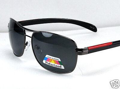 New Black Mens Polarized Lens Sunglasses Sport Fishing Driving Shades Pilot Wrap