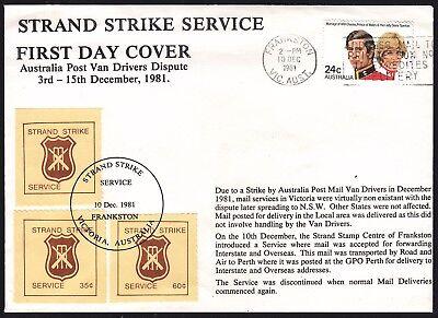 1981 Mail Strike    Strand Strike Service  First Day Cover   Cinderella Ru3269a