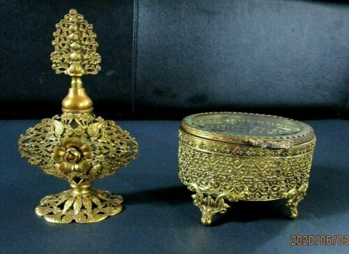 Vintage Gold Ormolu Filigree Perfume Bottle & Footed Jewelry Casket Set, Matson?