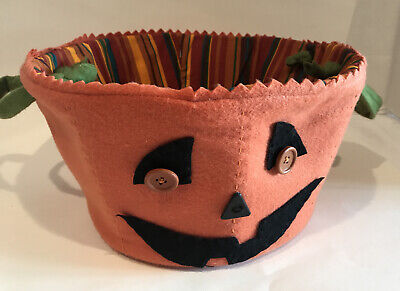 Halloween Pumpkin Candy Bowl Vintage Rustic Style Fabric