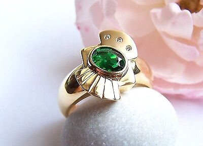 Tsavorit Ring 750 Gold Größe 55 Granat grün oval romantisch Unikat unikatmeister ()