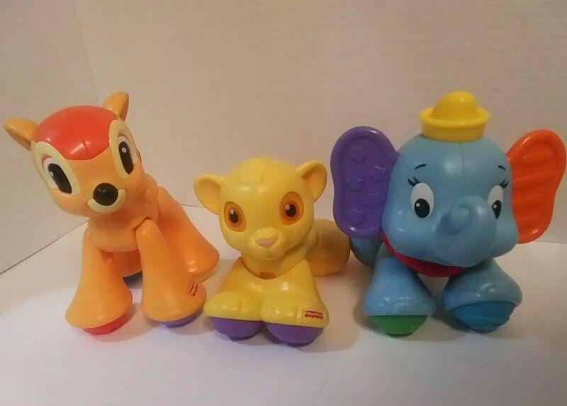 Fisher Price Amazing Animals Disney Lot of 3 Simba Lion King Dumbo Bambi Lot