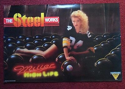 Sexy Girl Beer Poster Miller High Life ~ Steel Works Pittsburgh Steelers NFL Fan