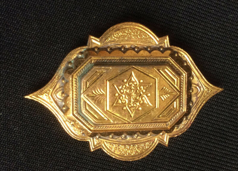 """Victorian Brass Gold Plated Mourning Brooch Pin 2.5"""" Large"""