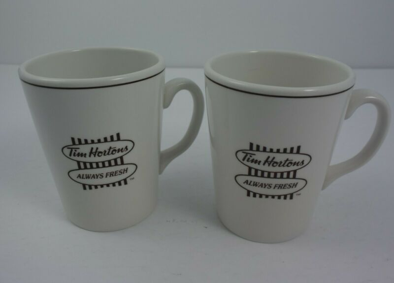 Vtg Pair Tim Hortons Porcelain Coffee Mugs Steelite England EUC 10 Ounces