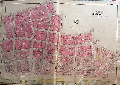 1907 Manhattan Financial District Fulton  Fish Brooklyn Bridge Ny Atlas Map
