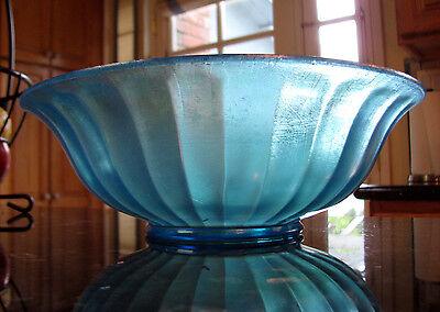 Northwood #663 OPTIC RAYS FLARED RIM BLUE STRETCH GLASS BOWL, circa 1925