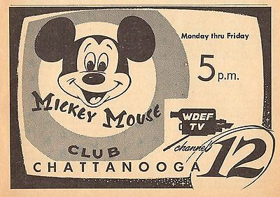 1956 TV AD~EARLY MICKEY MOUSE CLUB on WDEF CHATTANOOGA,TENNESSEE~DISNEY PROMO