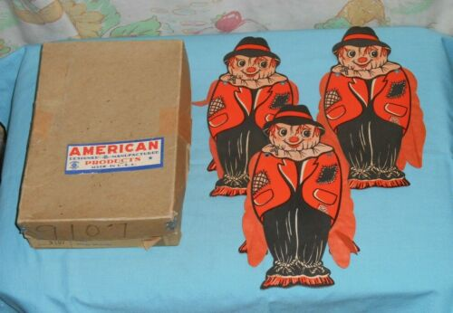 vintage HALLOWEEN SCARECROW DECORATION x3 with tissue-paper wings + original box