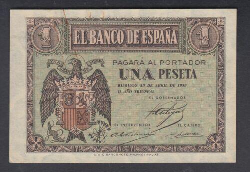 Spain 1 Peseta 30-04-1938  VF  P. 108,    Banknote, Circulated