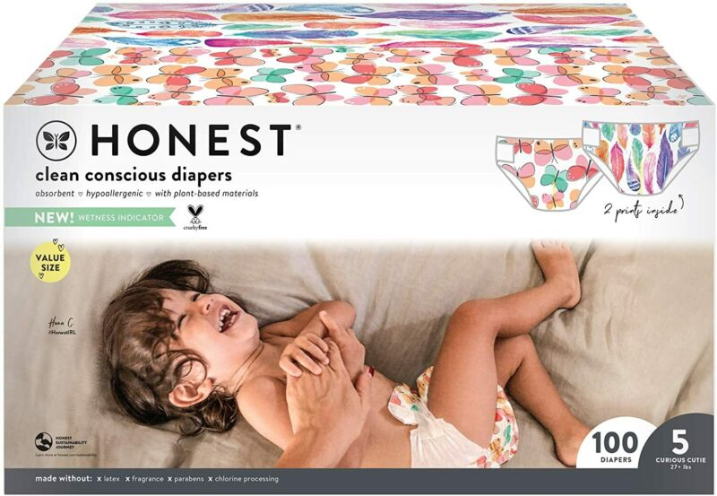 The Honest Company Super Club Box Diapers with TrueAbsorb Technology, Size 5, 10