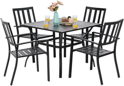 Outdoor Furniture Set 5 Metal Patio Chairs 37