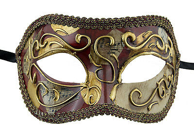Mask from Venice Colombine Golden Red Costume-Ball Masquerade - 1933 -V18