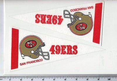 Lot of 2 Vintage 1980's San Francisco 49ers Mini Pennants Throwback Old Logo  ()